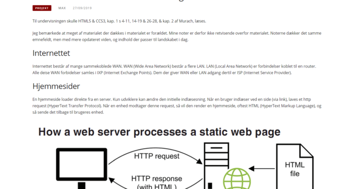 Screenshot fra indlægget: HTML5 & CSS3 noter til undervisning