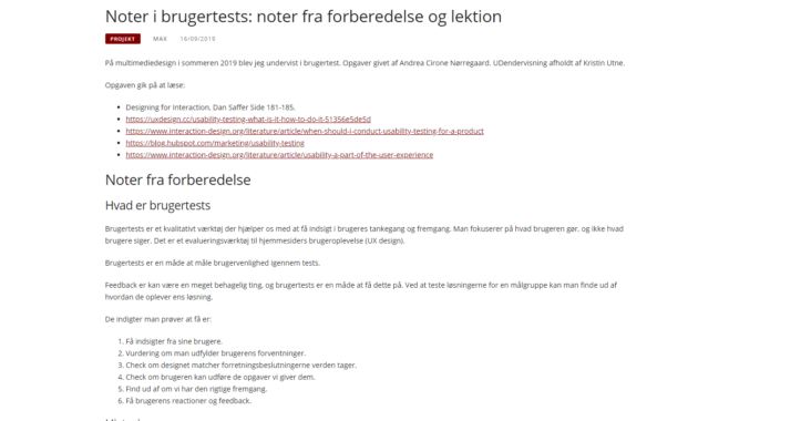 Screenshot fra indlægget: Noter i brugertests