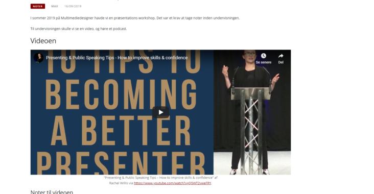 Screenshot fra indlægget: Præsentations workshop noter fra forberedelse