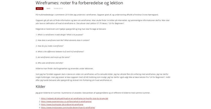 Screenshot fra indlægget: Wireframes noter fra forberedelse og lektion