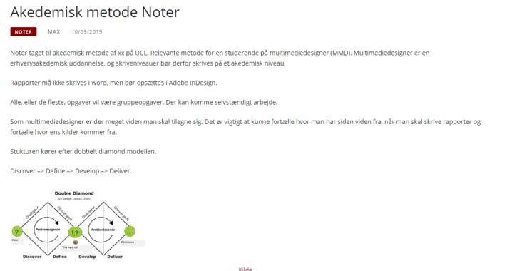 Screenshot fra indlægget: Akedemisk metode noter