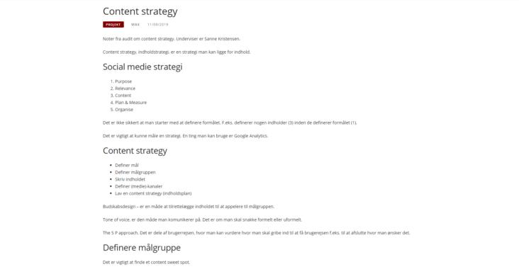 Screenshot fra indlægget: Content Strategy