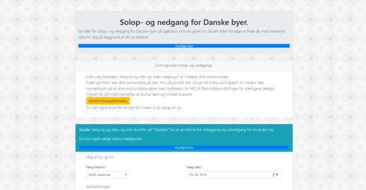 Screenshot af solop- og nedgang for Danske byer.