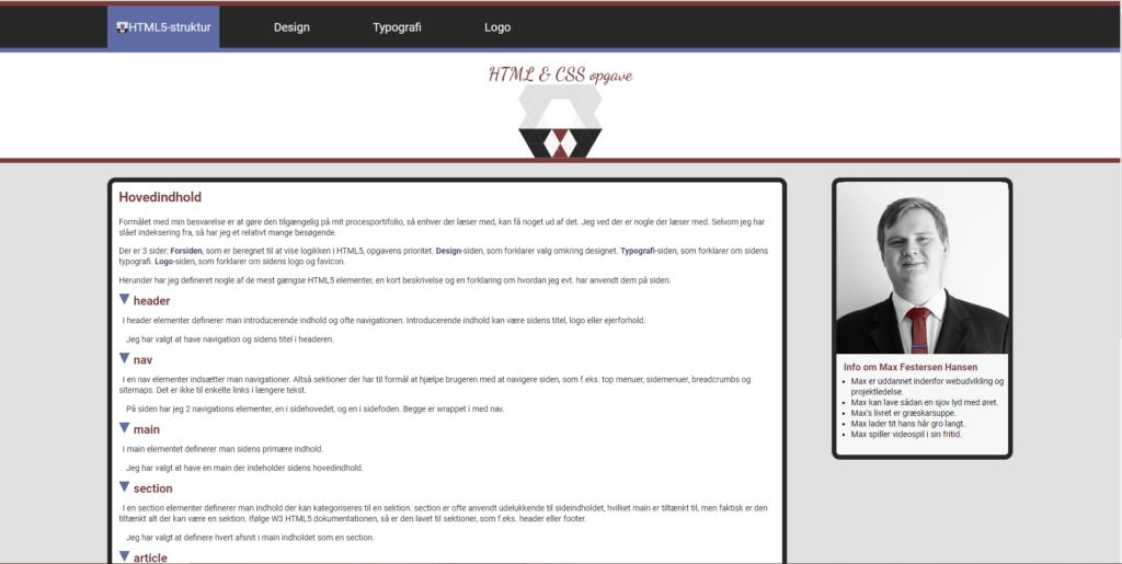 Forside for HTML & CSS opgave på MDD