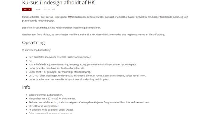 Screenshot fra indlægget: Kursus i indesign afholdt af HK