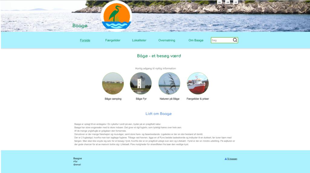 Design forslag til en ny forside på baagoe.info.