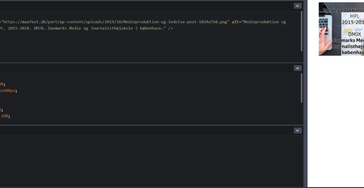 Screenshot fra codepen udviklingsmiljøet for CSS scalable image.