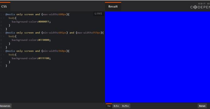 Screenshot fra codepen udviklingsmiøjet for media queries definerer background color.