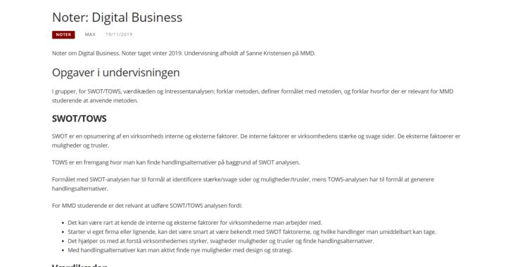 Screenshot fra indlægget: Noter: Digital Business