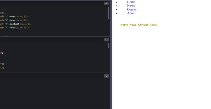 Screenshot fra codepen udviklingsmiljøet for Vertical and horizontal unordered list.