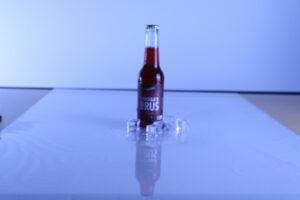 Setup for Himbærbrus med isterningeraf sodavand billedet. Overblik over pladen.